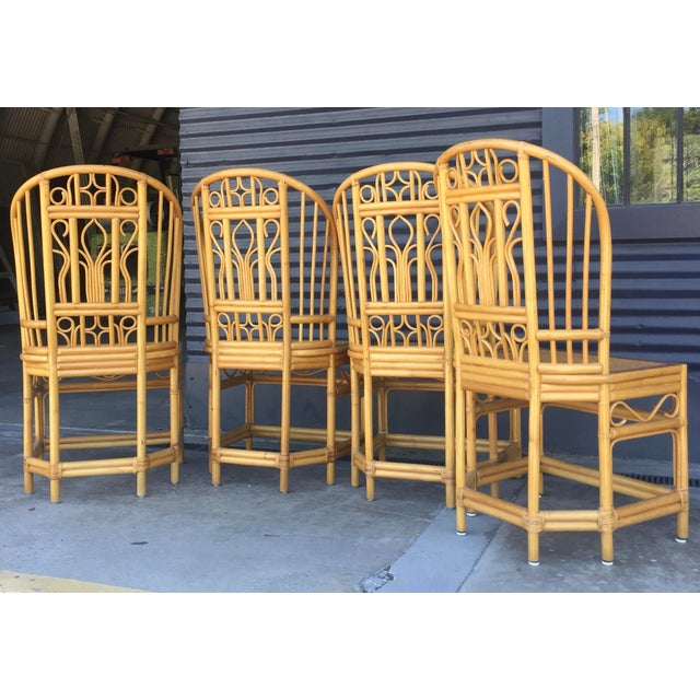 Caning Vintage Brighton Style Dining Chairs- Set of 4 For Sale - Image 7 of 13