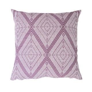 "Handwoven Mauve Diamond Pillow - 18"" x 18"""
