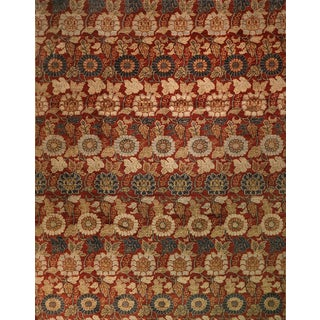 """Afghan Red Floral Rug-10'5'x13'6"""" For Sale"""