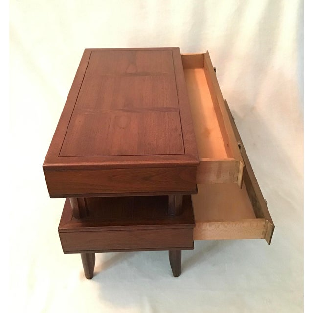 Mid-Century Modern Mid Century Modern Walnut Stacked Style End Table For Sale - Image 3 of 13