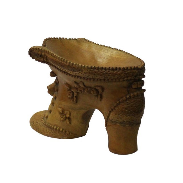 Chinese Oriental Wood Carved Heel Shape Display Figure For Sale In San Francisco - Image 6 of 7