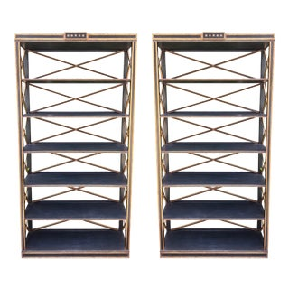 Charles Pollock Gustavian Style Black & Gold Etagere Bookcase - a Pair For Sale