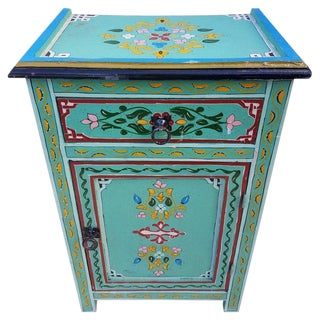 Moroccan Hand-Painted Wooden Nightstand For Sale