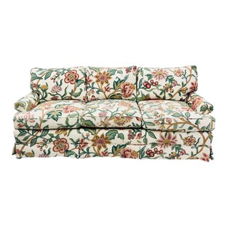 Vintage English Crewelwork Sofa For Sale
