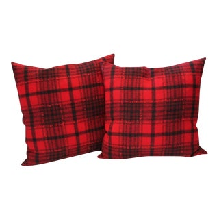 Pair of Red and Black Plaid Pendleton Blanket Pillows For Sale