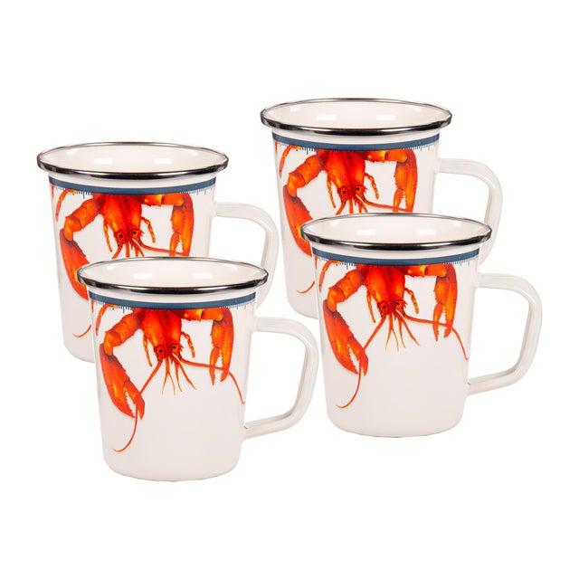 Modern Latte Mugs Lobster - Set of 4 For Sale - Image 3 of 3
