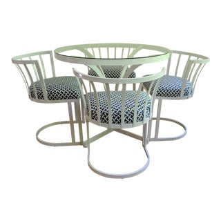 Mid-Century Metal White & Blue Dinette Set - Glass Table & Four Chairs For Sale
