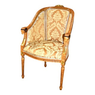 Carved Rams Head Barrel Back French Style Chair For Sale