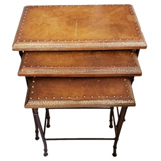 Traditional Leather Nesting Tables - Set of 3 For Sale
