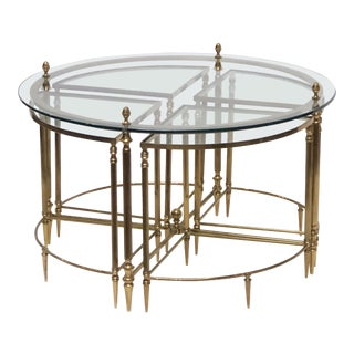 French Circular Glass and Brass Low Table with Four Wedge Nesting Under-Tables For Sale