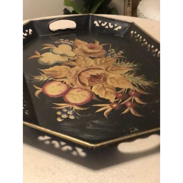 Mid-Century Modern 1960s Mid Century Black Hand Painted Metal Tray For Sale - Image 3 of 5