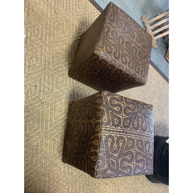 Borneo Mat Ottomans- A Pair For Sale - Image 4 of 7