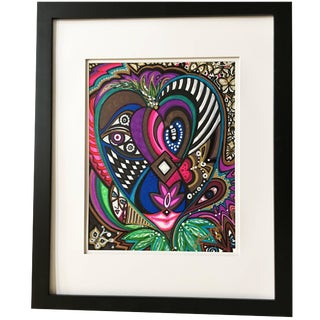 "Framed Abstract ""Growing Her Voice"" Mixed-Media on Paper by Laurel Rosenberg For Sale"
