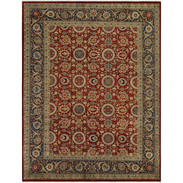 """Heritage Sixta Red & Blue Wool Rug - 12'1"""" x 17'5"""" For Sale"""