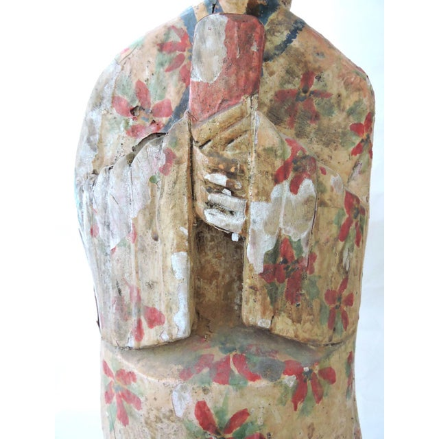 Asian Large Antique Chinese Polychrome Scholar Figure, Carved Wood For Sale - Image 3 of 9