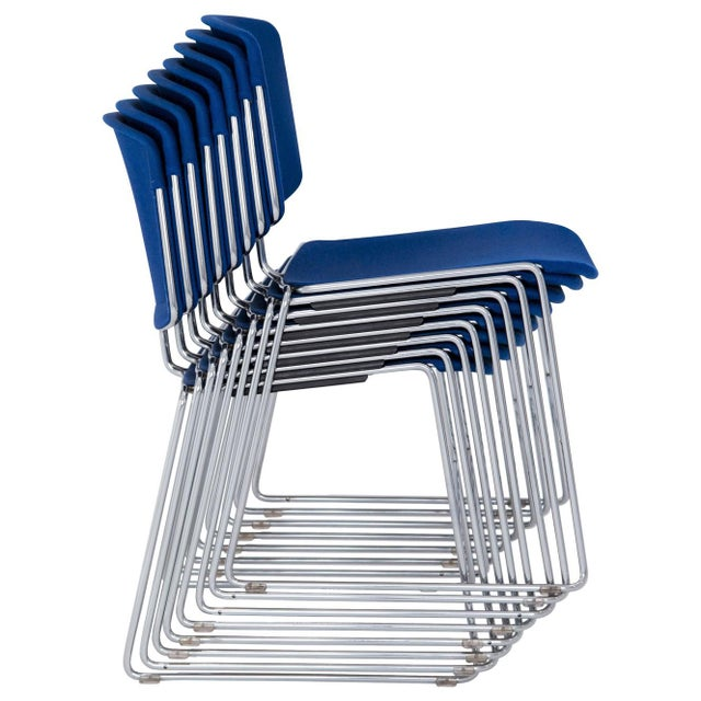 Blue Steelcase Max Stacker Chairs - Set of 8 For Sale - Image 8 of 10