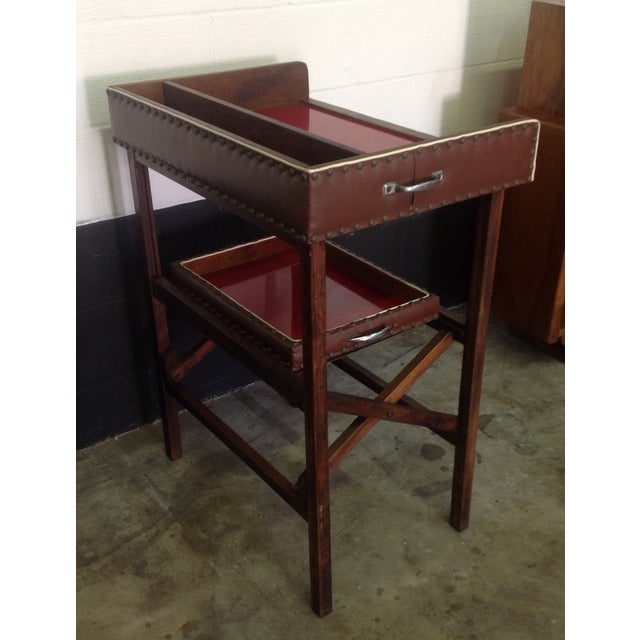 1950's Walnut and Acrylic Folding Bar For Sale - Image 4 of 10