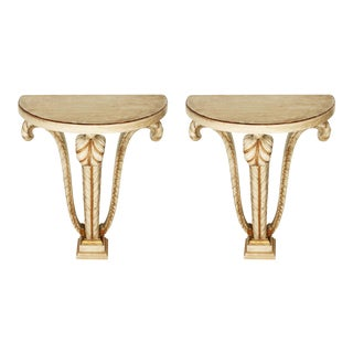 1950s Carved Gilt Jansen Console Tables - a Pair For Sale