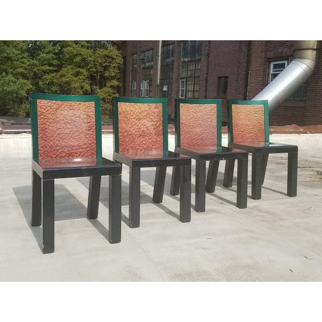 "Green 1970s Mid-Century Modern Ettore Sottsass ""Danube"" Chairs - Set of 4 For Sale - Image 8 of 8"