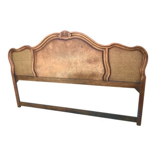 Vintage French Provincial Caned Burl Wood King Headboard For Sale