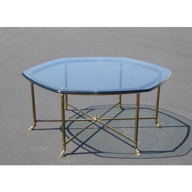 Vintage Hoofed Brass & Glass Coffee Table