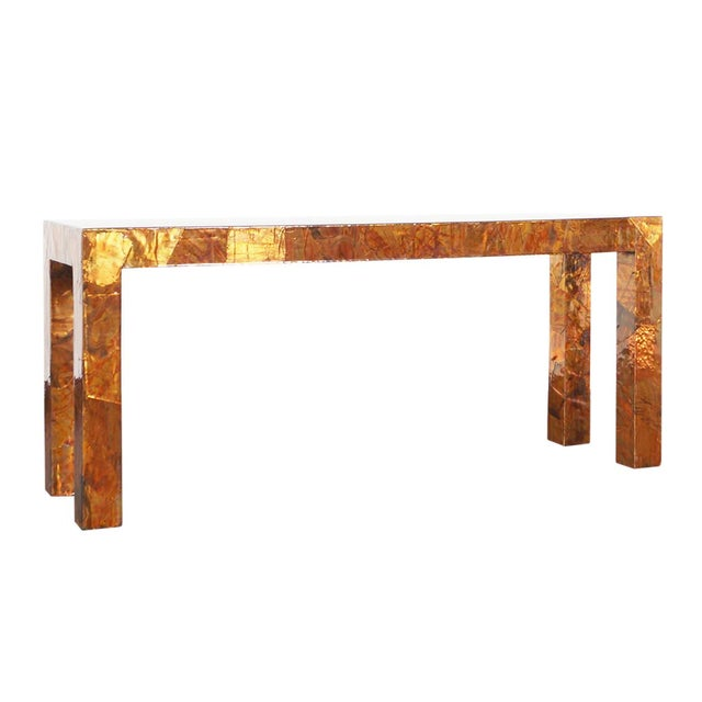 1970s Brutalist Copper Patchwork Console Table For Sale - Image 11 of 11
