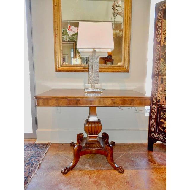 Wood Italian Walnut Pedestal Table For Sale - Image 7 of 8