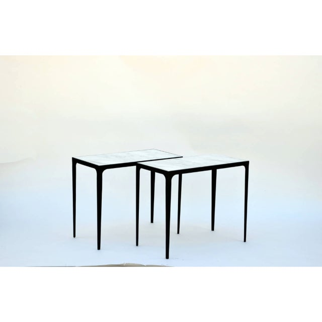 "Modern Contemporary ""Esquisse'"" Iron and Honed Marble Side Tables - a Pair For Sale - Image 3 of 6"