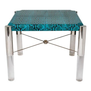 Spectacular Turquoise Leather and Lucite Game Table