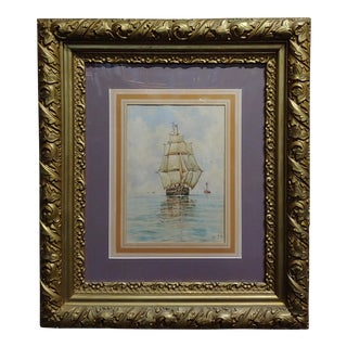 """19th Century """"Sailboat at Sea"""" Painting by William Stanley Haseltine For Sale"""