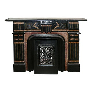 1875 Traditional Eastlake Style Black Slate and Painted Faux Marble Mantel For Sale