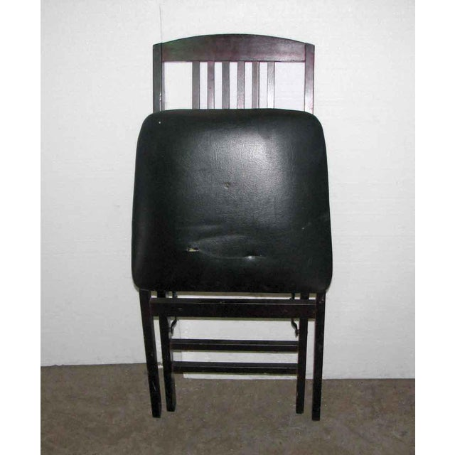 Antique Black Folding Wood Chair For Sale - Image 10 of 11