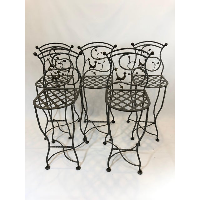 1980s Vintage Giacometti Style Whimsical Hand Forged Iron Counter Stools - Set of 5 For Sale - Image 11 of 11