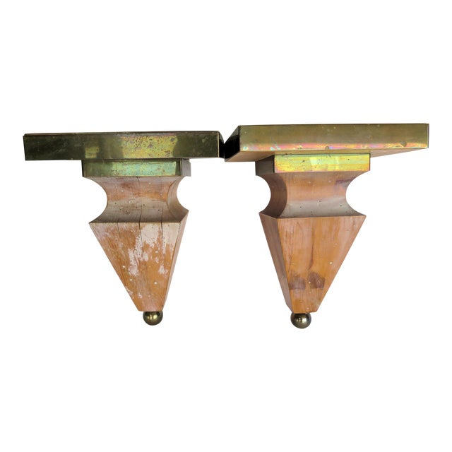1980s Shabby Chic Brass and Pine Wood Corbels - a Pair For Sale