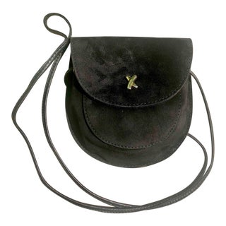 Paloma Picasso Signature Black Suede Crossbody Bag For Sale