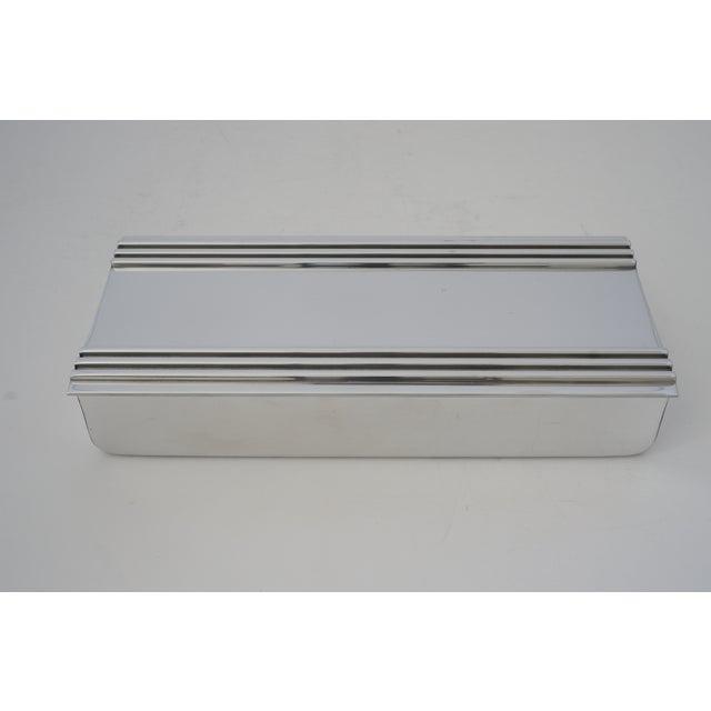 Art Deco Vintage American Art Deco 1930s Kensington Box Aluminum For Sale - Image 3 of 11