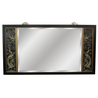 Asian Triptych Silk Panel Mirror For Sale