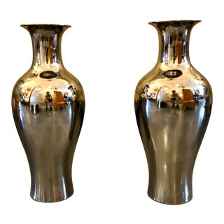 1980s Traditional Silver Glazed Porcelain Vases - a Pair For Sale
