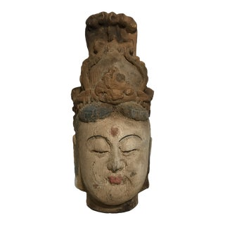 Mid 19th Century Antique Hand-Painted Carved Kwan Yin Buddha Head Sculpture For Sale