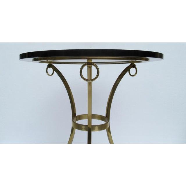 Gold Vintage LaBarge Regency Brass Hoofed & Bronze Glass Gueridon Table For Sale - Image 8 of 13