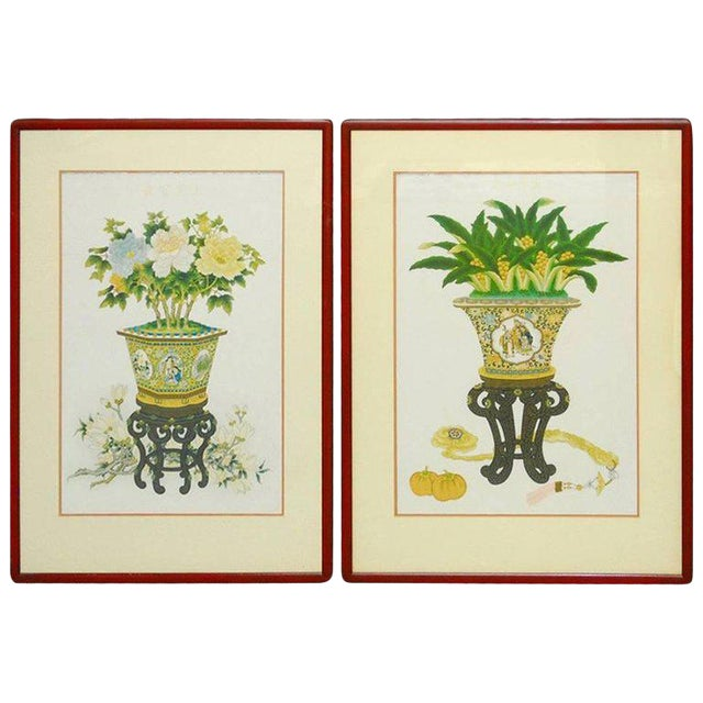 Pair of Chinese Flora and Foliate Still Life Prints For Sale