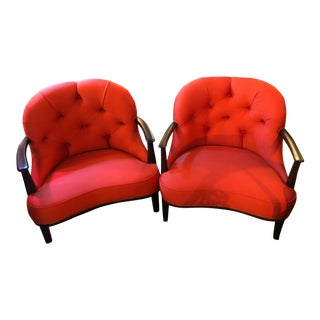Edward Wormley Janus Tufted Armchairs Newly Upholstered - Pair For Sale