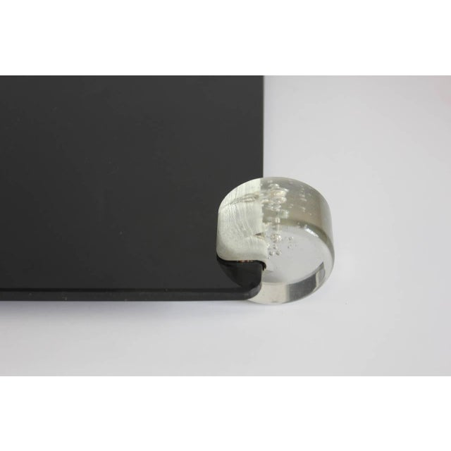 Vintage Mid-Century Black Glass and Lucite Tray For Sale - Image 4 of 6