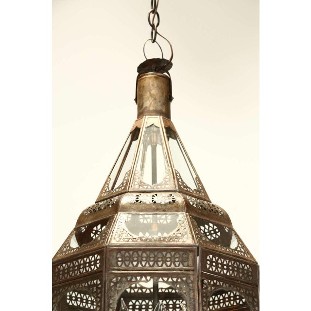 Metal Moroccan Moorish Clear Glass Pendant For Sale - Image 7 of 9