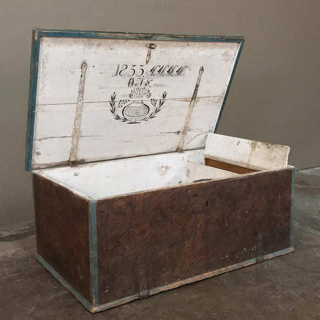 19th Century Rustic Swedish Painted Trunk For Sale - Image 4 of 13