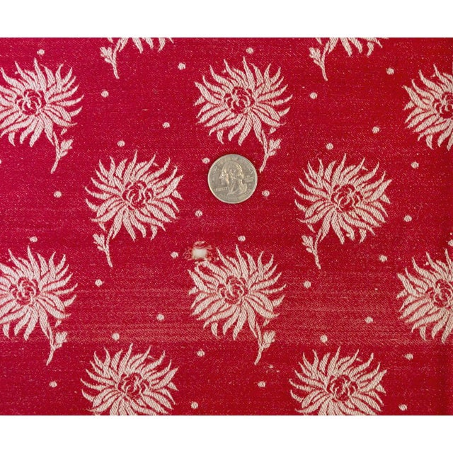 vintage christmas tablecloth turkey red damask poinsettia flowers for sale image 4 of 7