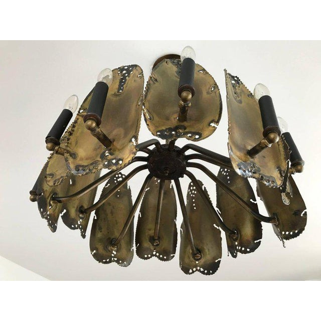 Metal Mid-Century Modern Brutalist Chandelier Designed by Tom Greene For Sale - Image 7 of 9