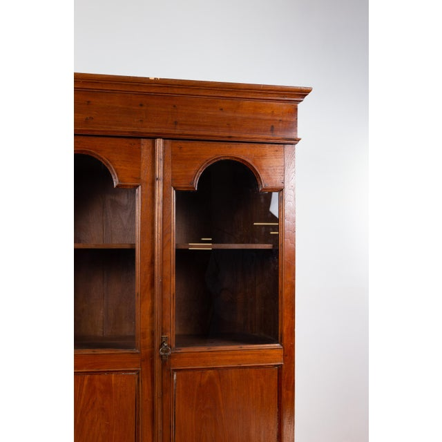Antique Dutch Colonial Tall China Cabinet With Glass Doors and Arched Motifs For Sale - Image 11 of 13