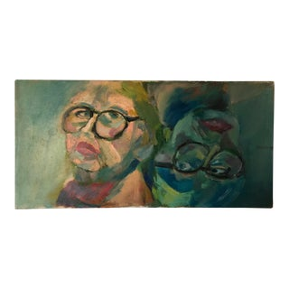 1960s Figurative Oil Painting of Woman's Face For Sale