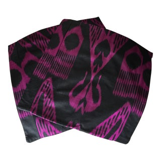 Fuchsia & Black Silk Ikat Pillow Covers - A Pair For Sale